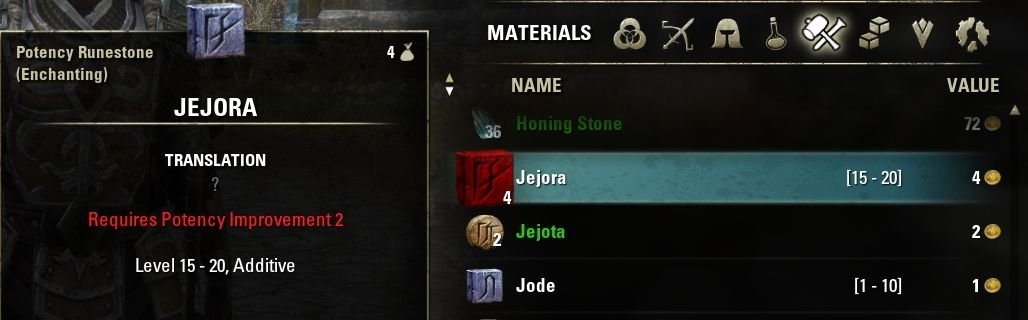 Eso Crafting Material Level Display