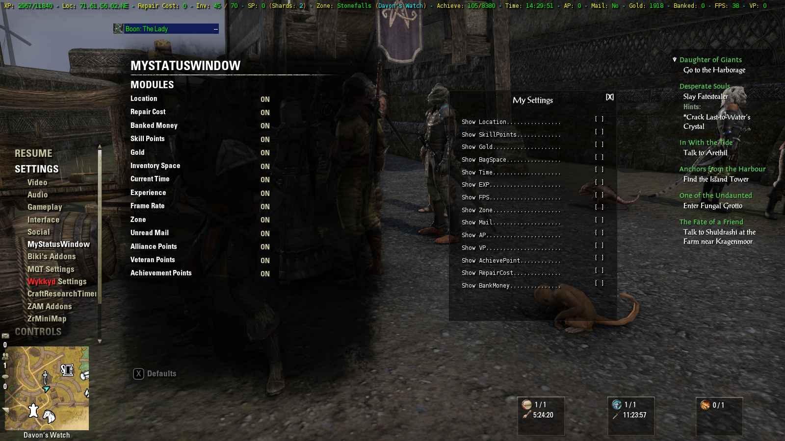 MyStatusWindow : Info, Plug-in Bars : Elder Scrolls Online
