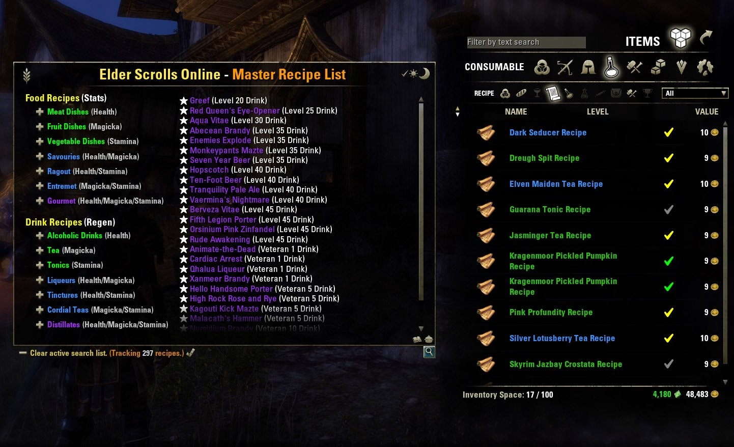 Eso master recipe list tradeskill mods elder scrolls online addons view 13 screenshots forumfinder Choice Image