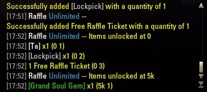 Raffle Unlimited : Group, Guild & Friends : Elder Scrolls Online AddOns
