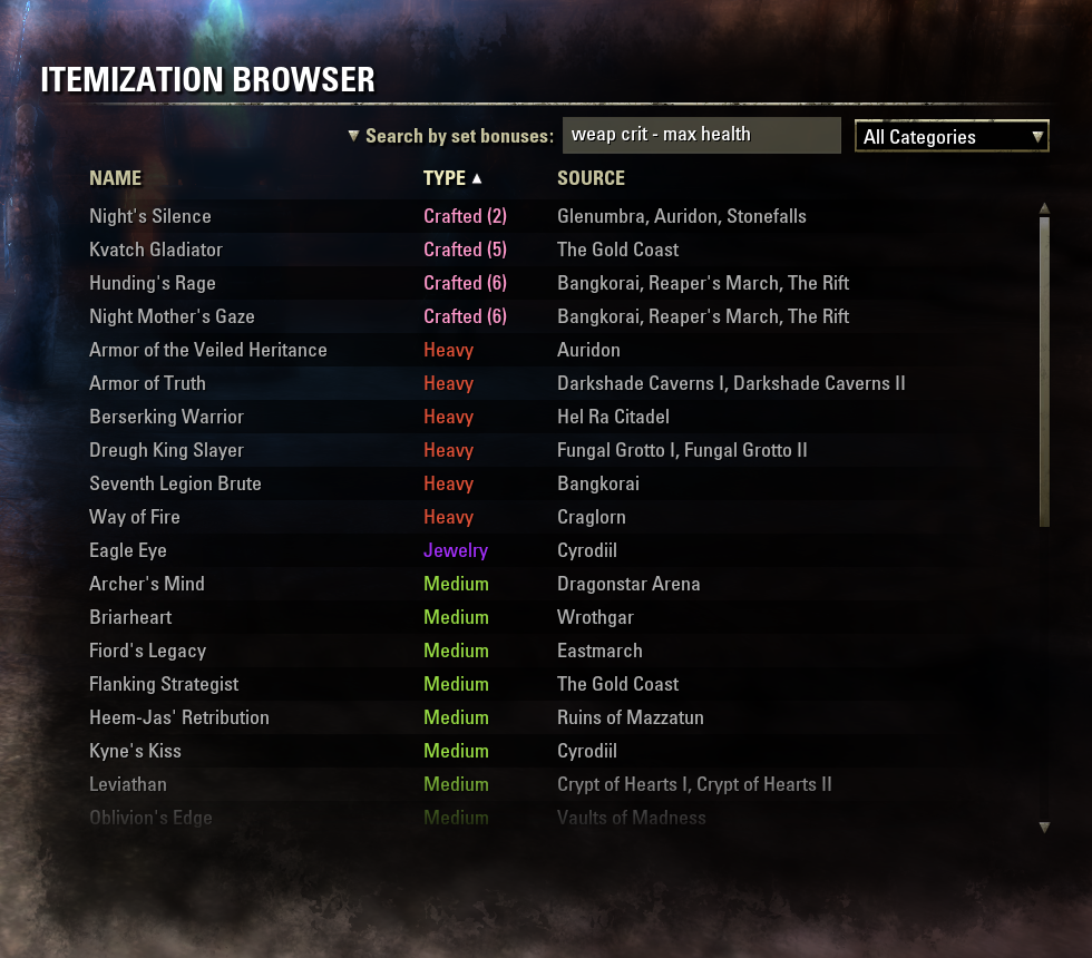 Itemization Browser : Data Mods : Elder Scrolls Online AddOns