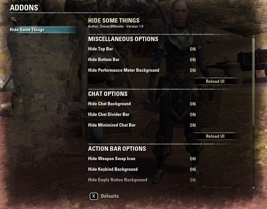 Hide Some Things : Miscellaneous : Elder Scrolls Online AddOns